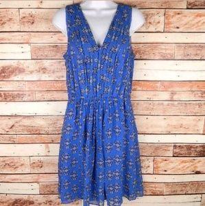 Madewell Dress Blue Floral A-Line Silk Size 4